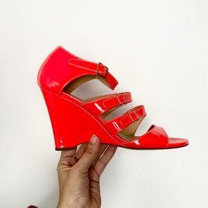 J.CREW patent leather fluorescent sandal wedge 8.5